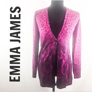 Emma James-Animal & Peacock Fushia/Blk. Cardigan💕